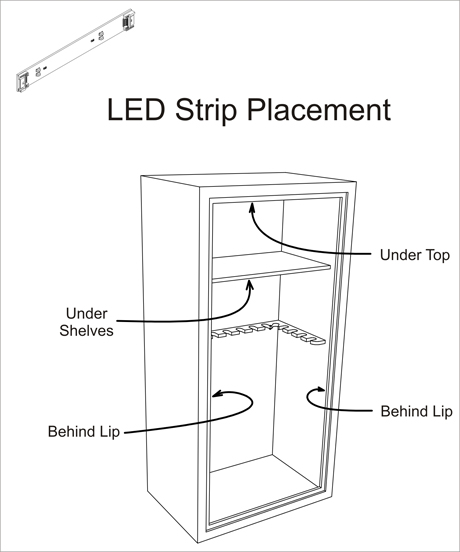 Gun Safe Light Control Unit Placement Gun Safe Light LED Strip Placement